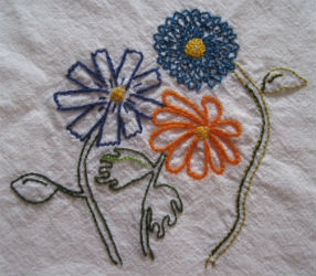 Embroidered Square Flowers