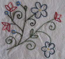 Flowers embroidered on a towel