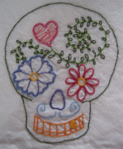 Embroidered Day of the Dead Skull