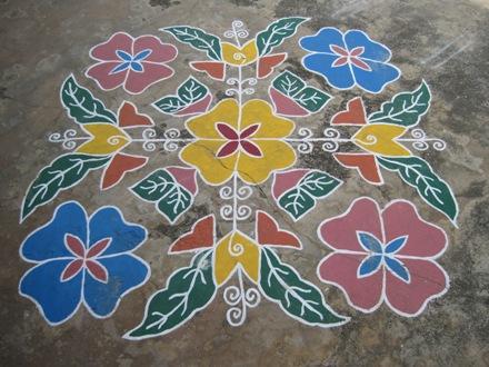 Painted concrete near Gudur, Andhra Pradesh, India January 2010