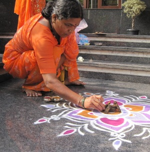 Rangoli design for Pongal harvest festival