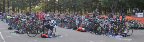 Swim to bicycle transition area
