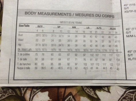 Body measurements chart in pattern