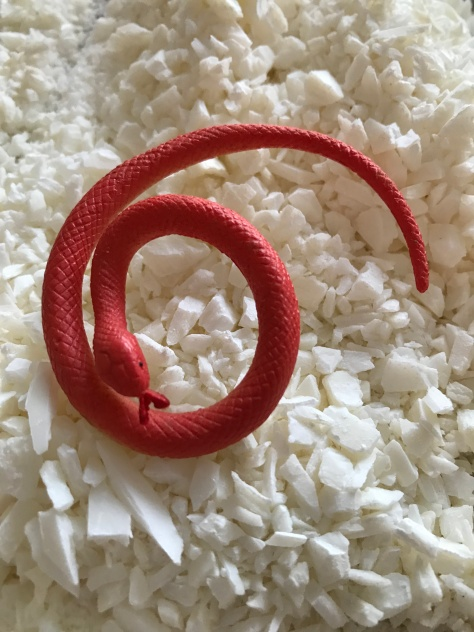 Plastic snake waiting for a soap shell